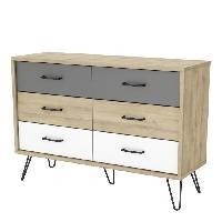 Meuble De Chambre FILEA Commode 6 tiroirs - Decor chene kronberg blanc et gris - L 116.7 x P 42.3 x H 81.5 cm - Aucune