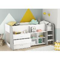 Meuble De Chambre HAPPY Lit combine junior 90x200 cm - Blanc Mat et gris clair - L 203.4 x H 97.8 x P 120.5 cm - Aucune