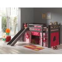 Meuble De Chambre PINO Lit enfant mezzanine toboggan taupe Pink