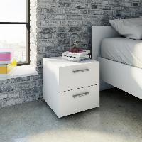 Meuble De Chambre TVILUM Chevet 2 tiroirs - Blanc - L 40 x P 40 x H 42 cm - TYHJA