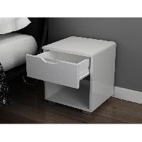 Meuble De Chambre URBANO Chevet contemporain laque blanc brillant - L 35 cm