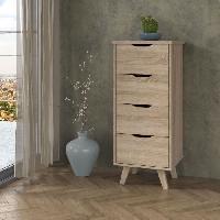 Meuble De Chambre VANKKA Chiffonnier 4 tiroirs - Decor chene Sonoma - L 45 x P 42 x H 108 cm