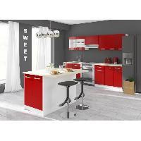 Meuble De Cuisine CARMEN Ilot de cuisine L 100cm avec plan de travail inclus - Rouge mat