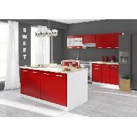 Meuble De Cuisine CARMEN Ilot de cuisine L 1m64 avec plan de travail inclus - Rouge mat