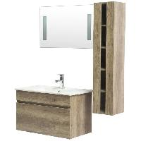 Meuble De Salle De Bain ALBAN Ensemble salle de bain simple vasque L 80 cm - Decor bois wenge