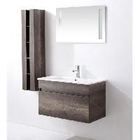 Meuble De Salle De Bain ALBAN Ensemble salle de bain simple vasque avec miroir L 80 cm - Decor bois vintage