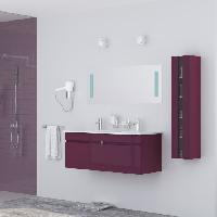 Meuble De Salle De Bain ALBAN Salle de bain complete double vasque 120 cm - Laque aubergine brillant