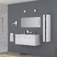 Meuble De Salle De Bain ALBAN Salle de bain complete double vasque 120 cm - Laque blanc brillant