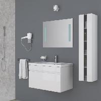 Meuble De Salle De Bain ALBAN Salle de bain complete simple vasque 80 cm - Laque blanc brillant
