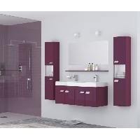 Meuble De Salle De Bain ALPOS Salle de bain complete double vasque 120 cm - Laque aubergine brillant