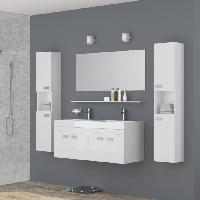 Meuble De Salle De Bain ALPOS Salle de bain complete double vasque 120 cm - Laque blanc brillant