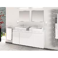 Meuble De Salle De Bain CINA Ensemble salle de bain double vasque L 120 cm - Blanc laque