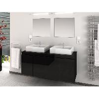 Meuble De Salle De Bain CINA Ensemble salle de bain double vasque L 120 cm - Noir laque