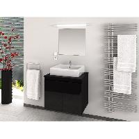Meuble De Salle De Bain CINA Ensemble salle de bain simple vasque L 60 cm - Noir laque