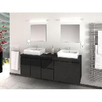 Meuble De Salle De Bain CINA Salle de bain complete double vasque L 150 cm - Laque gris