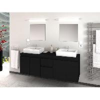 Meuble De Salle De Bain CINA Salle de bain complete double vasque L 150 cm - Noir mat