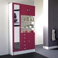 Meuble De Salle De Bain GALET Armoire de salle de bain L 90 cm - Blanc et rose fushia mat - Generique