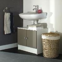 Meuble De Salle De Bain GALET Meuble sous lavabo L 60 cm - Blanc et taupe mat - Generique