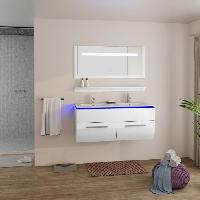 Meuble De Salle De Bain HELIOS Salle de bain complete avec LED double vasque L 120 cm - Blanc laque brillant