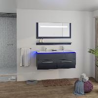 Meuble De Salle De Bain HELIOS Salle de bain complete avec LED double vasque L 120 cm - Gris laque brillant