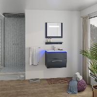 Meuble De Salle De Bain HELIOS Salle de bain complete avec LED simple vasque L 60 cm - Gris laque brillant