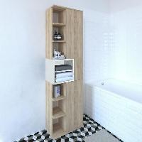 Meuble De Salle De Bain KUBE Colonne de salle bain L 50 cm - Décor chene naturel et blanc mat - Generique