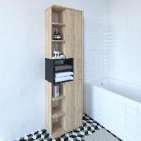 Meuble De Salle De Bain KUBE Colonne de salle bain L 50 cm - Décor chene naturel et noir mat Generique