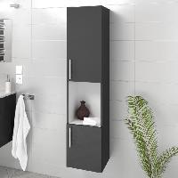 Meuble De Salle De Bain LUNA / LIMA Colonne de salle de bain L 25 cm - Gris brillant Generique