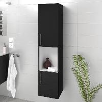 Meuble De Salle De Bain LUNA / LIMA Colonne de salle de bain L 25 cm - Noir brillant - Generique
