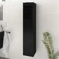 Meuble De Salle De Bain LUNA / LIMA Colonne de salle de bain L 25 cm - Noir brillant Generique