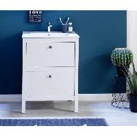 Meuble De Salle De Bain OLE Meuble de salle de bain simple vasque L 60 cm - Blanc mat