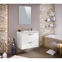 Meuble De Salle De Bain STELLA Ensemble salle de bain simple vasque avec miroir L 80 cm - Decor bois blanchi