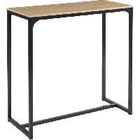 Meuble De Sejour - Entree ARCHE Table haute - Style industriel en MDF et métal - Décor chene et noir - L 115 x P 50 x H 110 cm Aucune