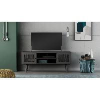 Meuble De Sejour - Entree BROADWAY Meuble TV 2 portes - Noir - L 110 x P 35 x H 45 cm Aucune