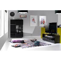 Meuble De Sejour - Entree BUMP Meuble TV contemporain noir laqué brillant - L 154 cm - Aucune