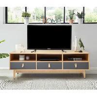 Meuble De Sejour - Entree CAMBRIDGE Meuble TV poignées en cuir - Décor chene clair et gris foncé Aucune