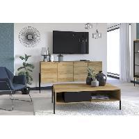 Meuble De Sejour - Entree CHESTER Table basse 1 tiroir - Décor chene catania et noir - L124 x P 37 x H 67 cm Aucune