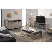 Meuble De Sejour - Entree CLAY Meuble TV avec LED contemporain décor chene argile et béton foncé - L 151 cm Aucune