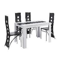 Meuble De Sejour - Entree DAMIA Ensemble table a manger + 4 chaises blanc et noir melaminé - L 120 x l 80 x H 75 cm Aucune