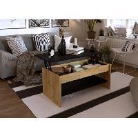 Meuble De Sejour - Entree HAPPY Table basse relevable - Decor chene et noir - L 100 x P 50 x H 44 cm