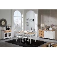 Meuble De Sejour - Entree IRENE Buffet bas 2 portes 4 tiroirs - Décor ciré et blanc - L 150 x P 40 x H 82 cm Aucune