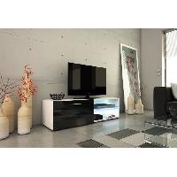 Meuble De Sejour - Entree KORA Meuble TV LED contemporain blanc et noir brillant - L 118 cm - Atlantic