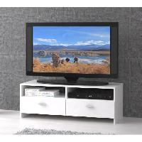 Meuble De Sejour - Entree Meuble TV contemporain blanc mat - L 95 cm - PILVI