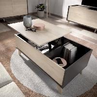 Meuble De Sejour - Entree Table basse rectangulaire relevable- Décor graphite et Chene - L 99 x P 60 x H 41 cm - NESS