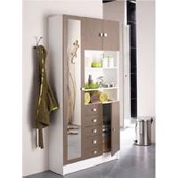 Meuble Haut - Element Mural - Armoire De Toilette GALET Armoire de salle de bain L 90 cm - Blanc et taupe mat - Generique