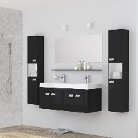 Meuble Sous Vasque - Meuble Vasque Integree - Plan De Toilette ALPOS Salle de bain complete double vasque 120 cm - Laque noir brillant