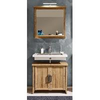 Meuble Sous Vasque - Meuble Vasque Integree - Plan De Toilette CANYON Ensemble salle de bain simple vasque L 75 cm - Decor chene dore