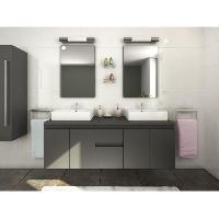 Meuble Sous Vasque - Meuble Vasque Integree - Plan De Toilette CINA Ensemble double vasque 150 cm gris mat
