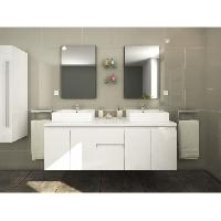 Meuble Sous Vasque - Meuble Vasque Integree - Plan De Toilette CINA Ensemble double vasque 150 cm laque blanc