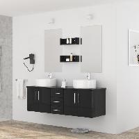 Meuble Sous Vasque - Meuble Vasque Integree - Plan De Toilette DIVA Salle de bain complete double vasque 150 cm - Laque noir brillant